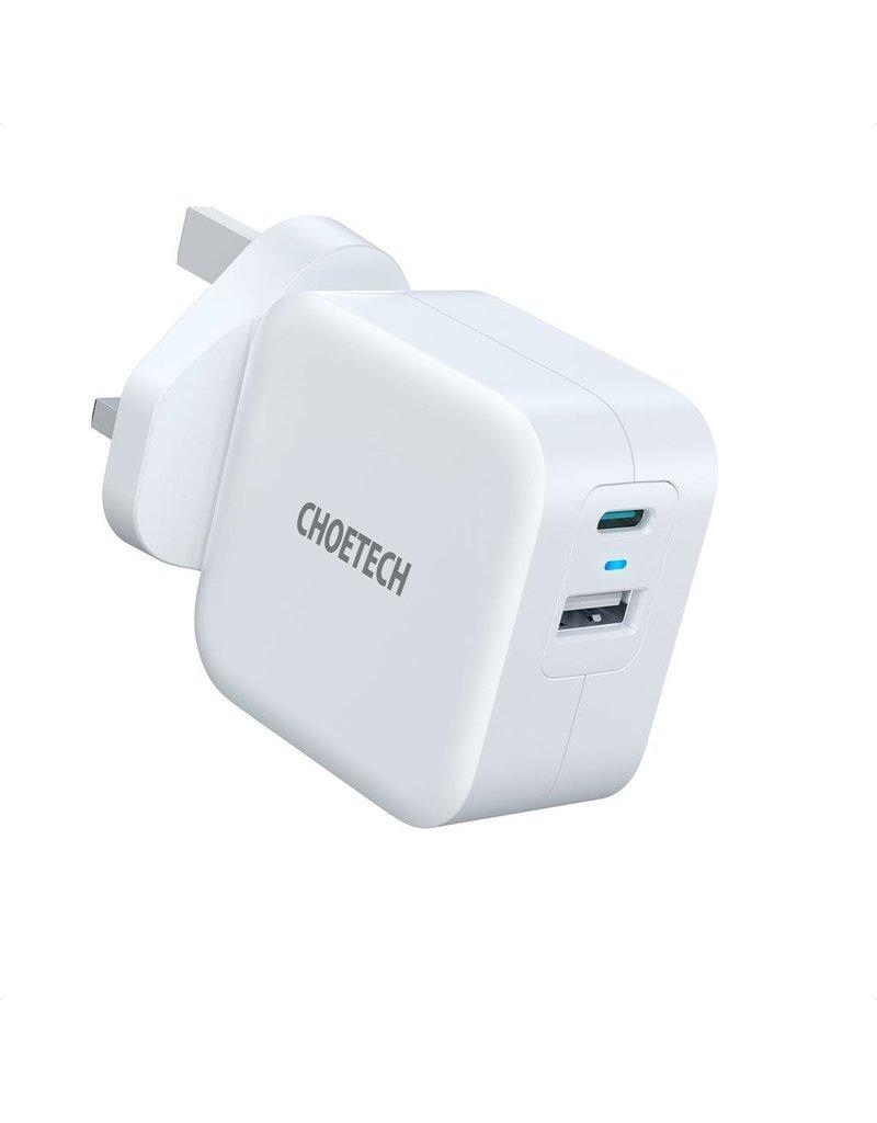 Choetech Choetech 38W Dual Port Fast Charger (USB-C 20W PD, USB-A 18W QC) - White