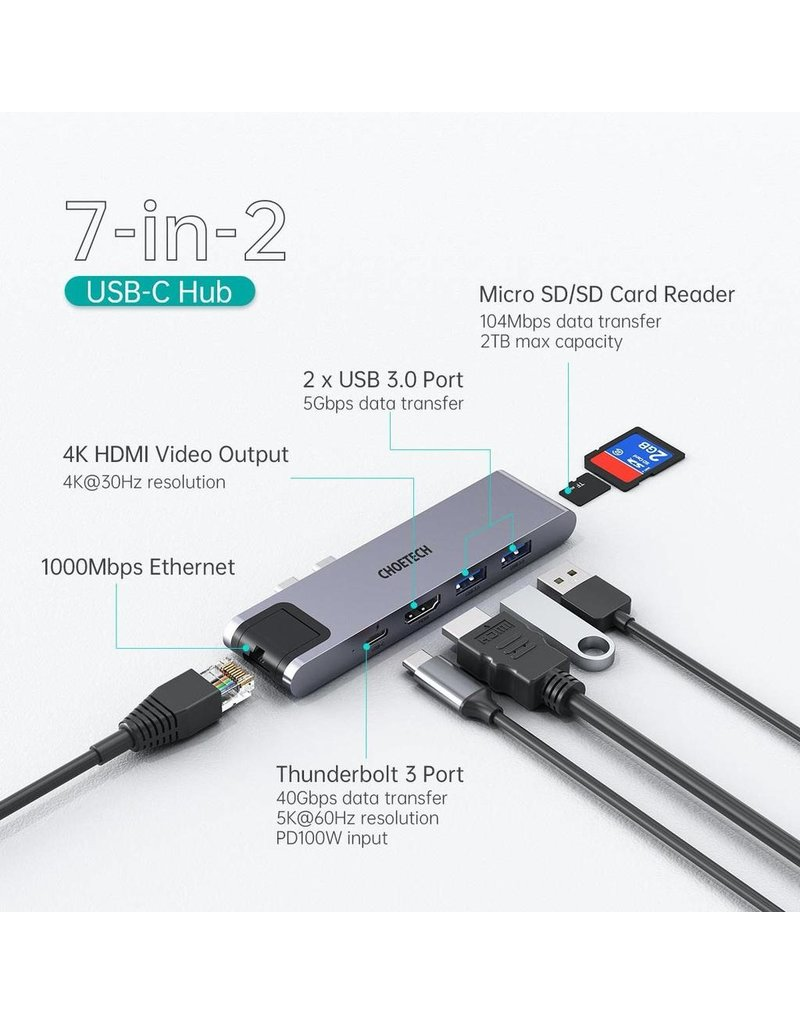 Choetech Choetech 7-in-2 Multiport USB-C Hub for MacBook  - Gray