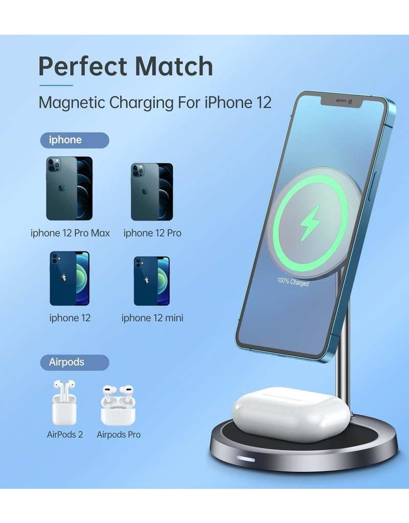 Choetech Choetech 2 in 1 Magnetic Wireless Charger with  PD 30W Adapter  UK Plug for iPhone 12 Series - Black