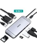 Choetech Choetech 9-In-1 USB-C Adapter with 4K HDMI VGA RJ45 - Gray