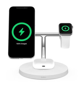 Belkin Belkin Boost Charge Pro 3-In-1 MagSafe Wireless Charging Stand UK Plug - White