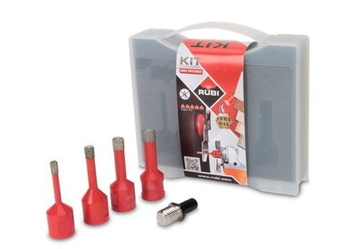 Rubi set wax droogboren 6,8,10,12 met adapter