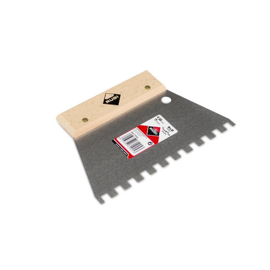 Rubi eenvoudige lijmspaan 18 cm vertanding 8x8 mm met houten greep