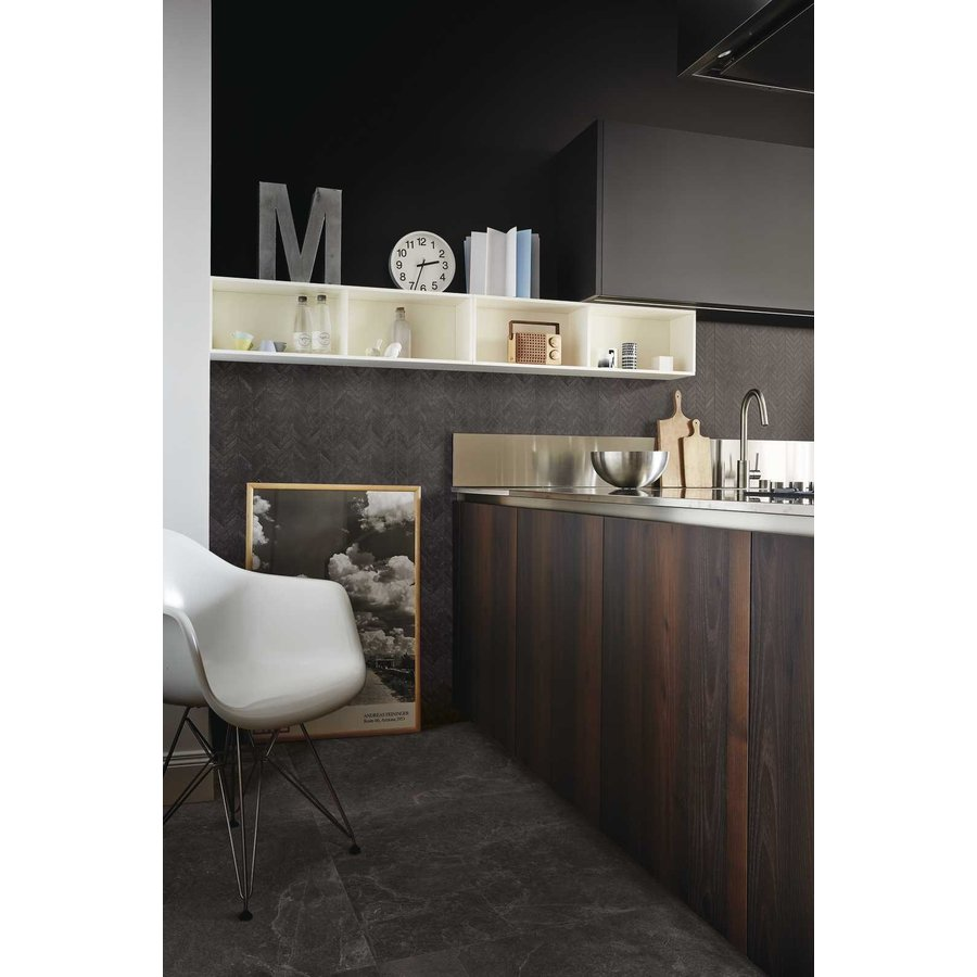 Vloertegel: Ragno Realstone Black 150x75cm
