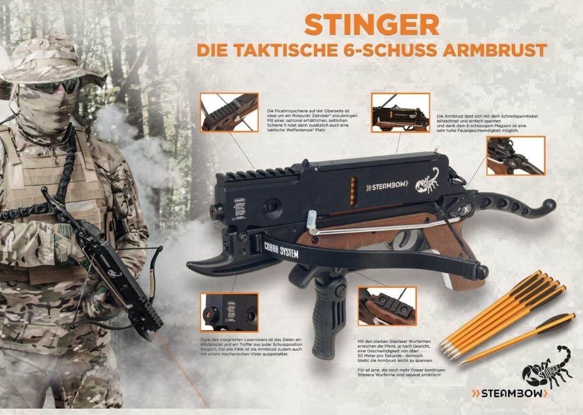Steambow Pistolenarmbrust Stinger Laser mit 6 Schuss Magazin - BK