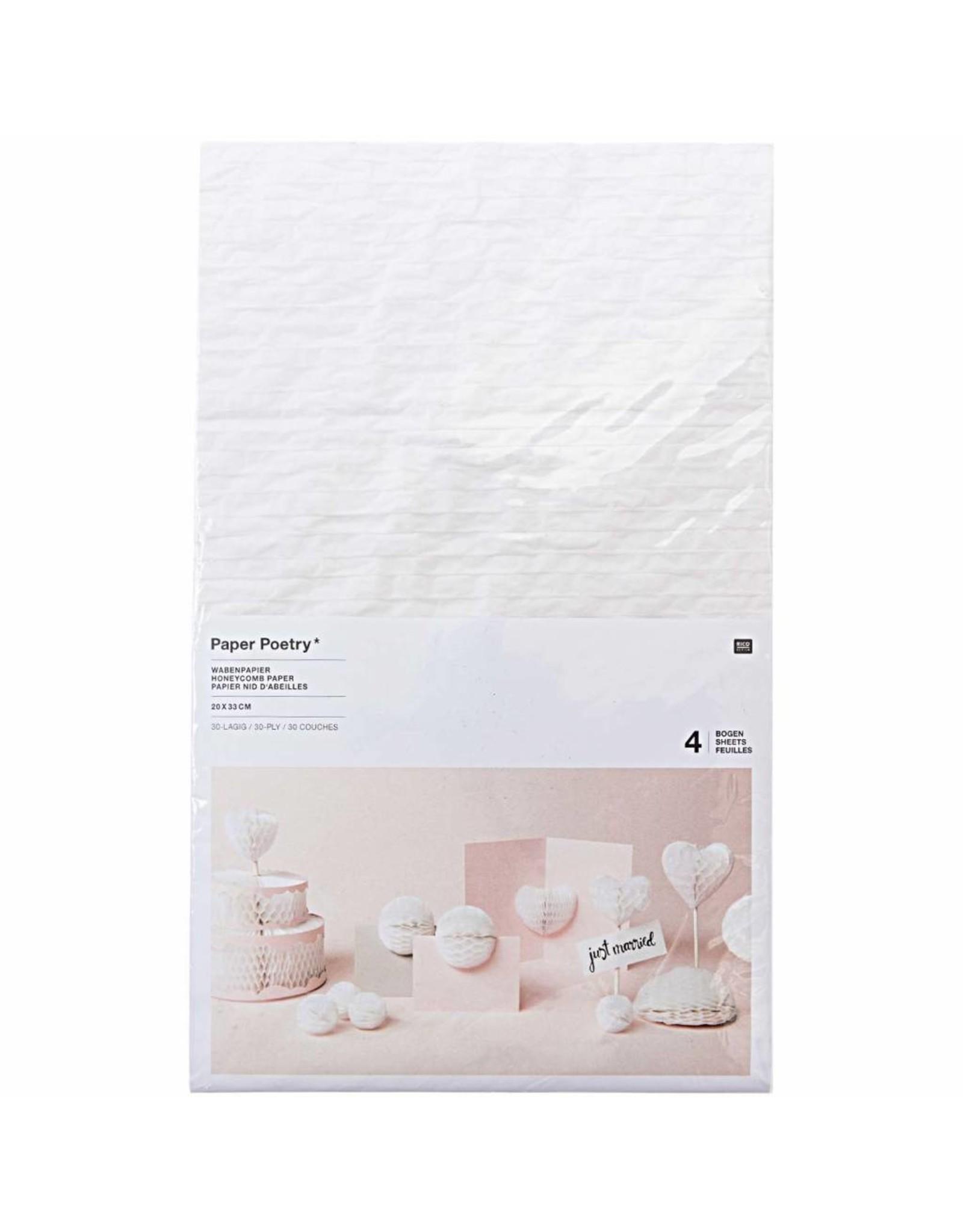 Rico Design Honingpapier wit mix 4 vellen