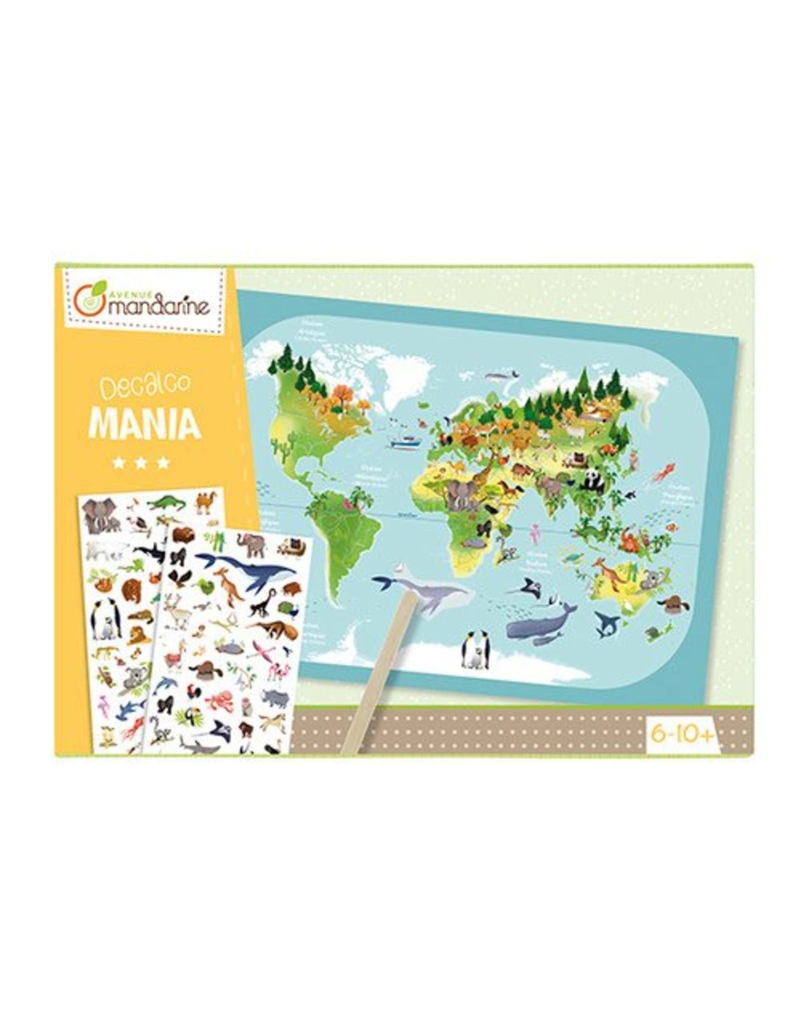 Avenue Mandarine Creatieve box Decalcomania wereldkaart