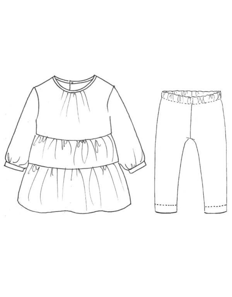 Katia L3 - Patroon Jurk van gecombineerde stoffen en leggings