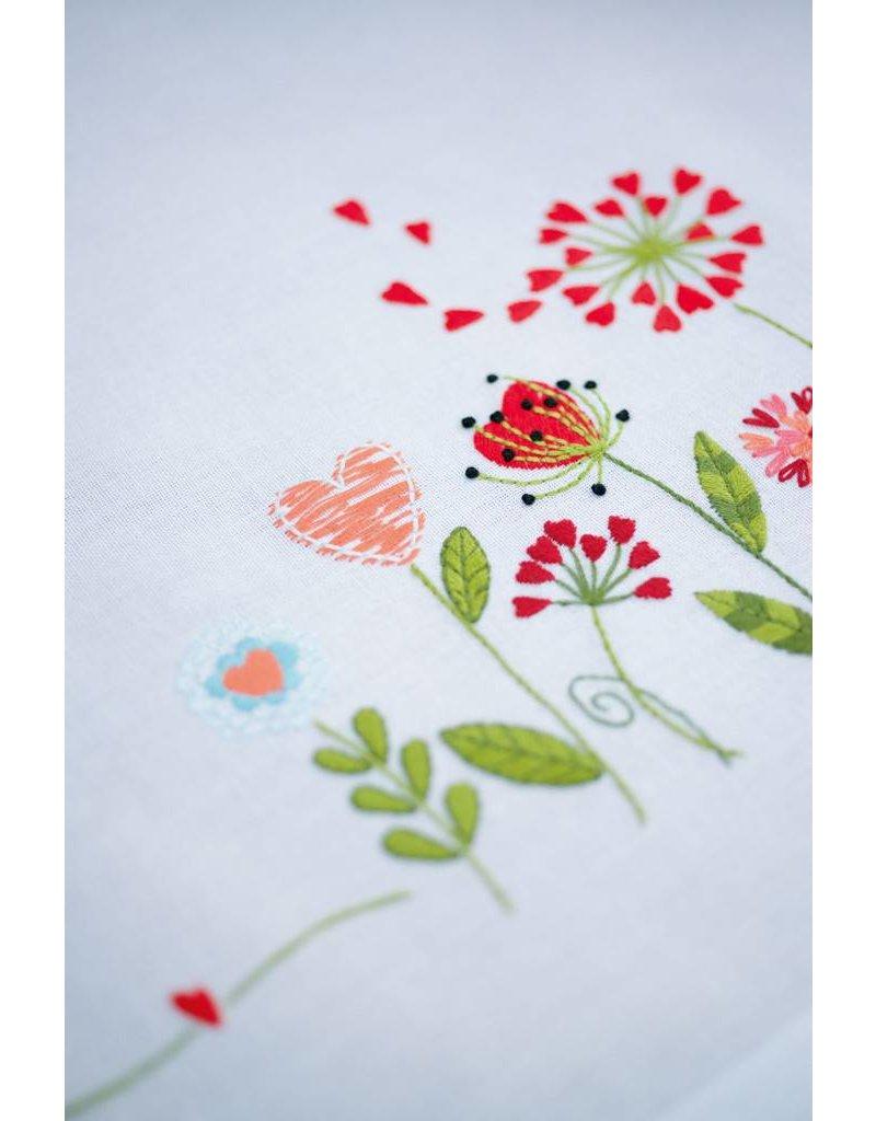 Vervaco Tafelkleed bedrukt borduren bloempjes 80x80cm
