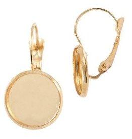 Metalen oorhanger voor cabochon 12mm Goud 32528