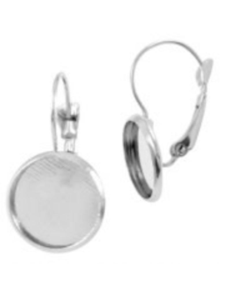 Metalen oorhanger voor cabochon 12mm Zilver 32530