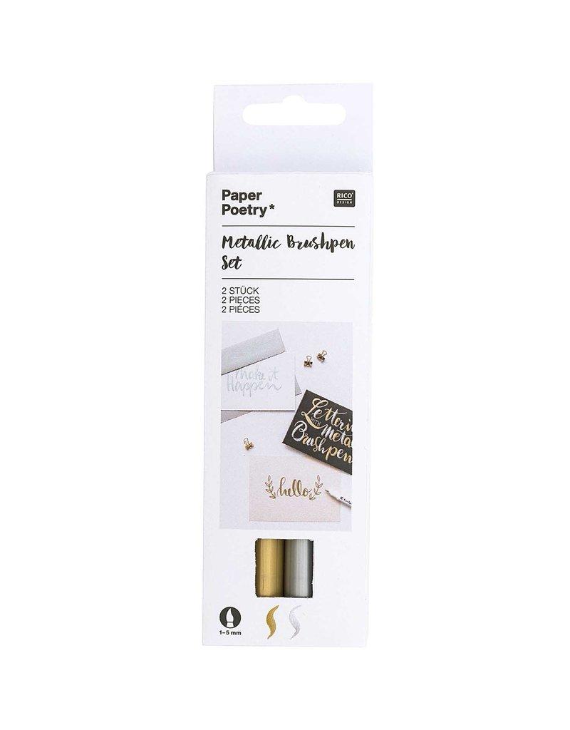 Rico Design Metallic brushpen set goud zilver