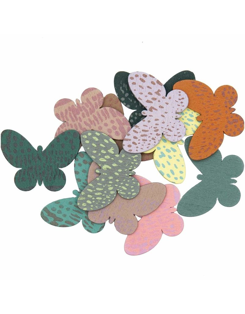 Rico Design Strooihoutjes vlinder mix mauve-groen