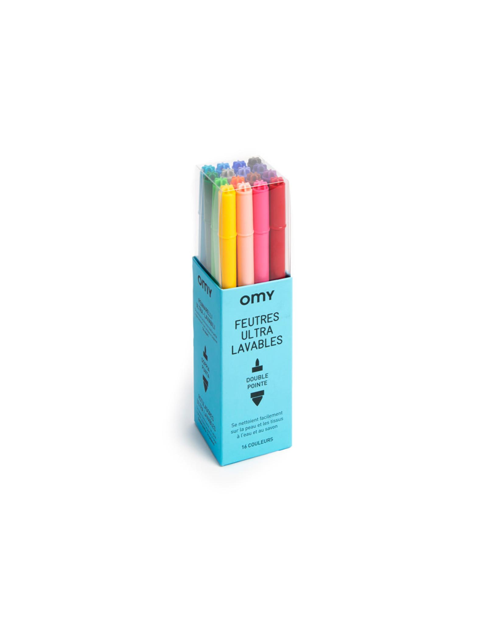 OMY Ultra afwasbare viltstiften 16 kleuren