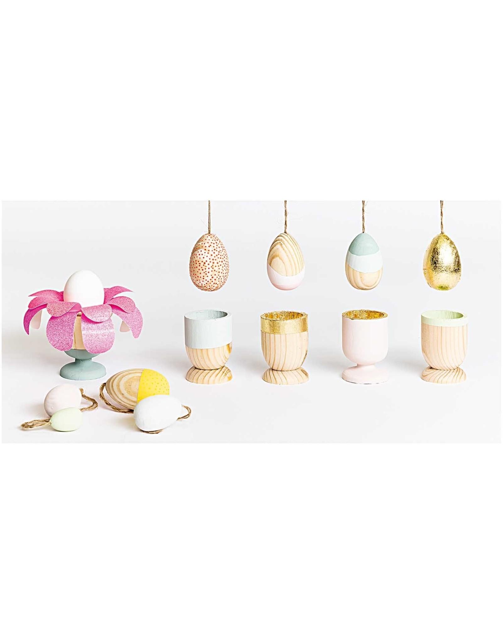 Rico Design Eieren in hout om op te hangen medium