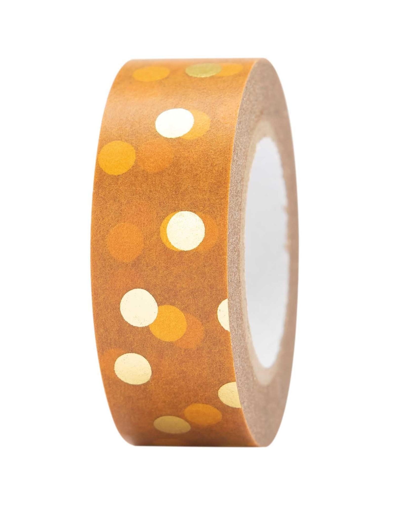 Rico Design Tape bruin goud stippen 10m