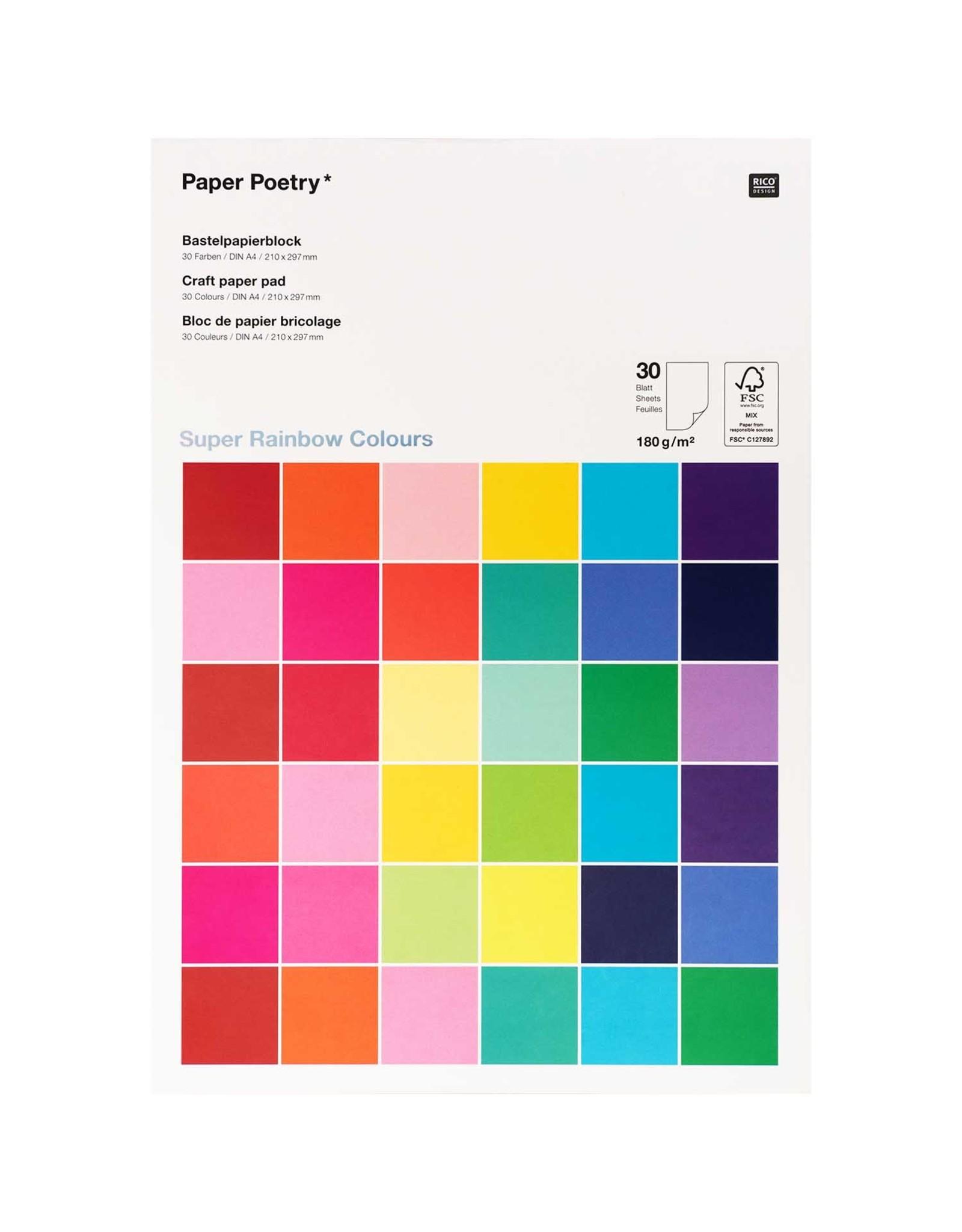 Rico Design Knutsel papier - super rainbow colours A4 30blz