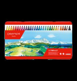 Caran d'Ache Fibralo 30 kleuren metalen doos