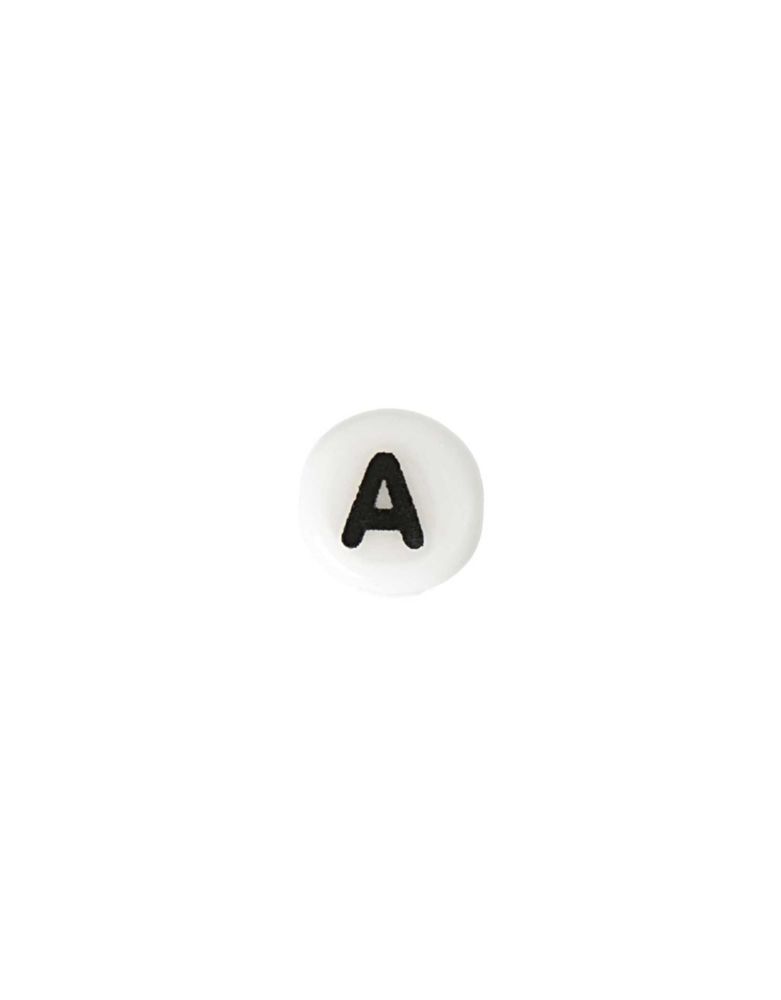 Rico Design Keramisch letters wit 8 x4mm rond kralen