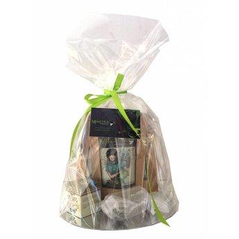 Geschenkset in cellophanfolie: 3 BIO Tees + 2 Teeblumen +Tee-Ei