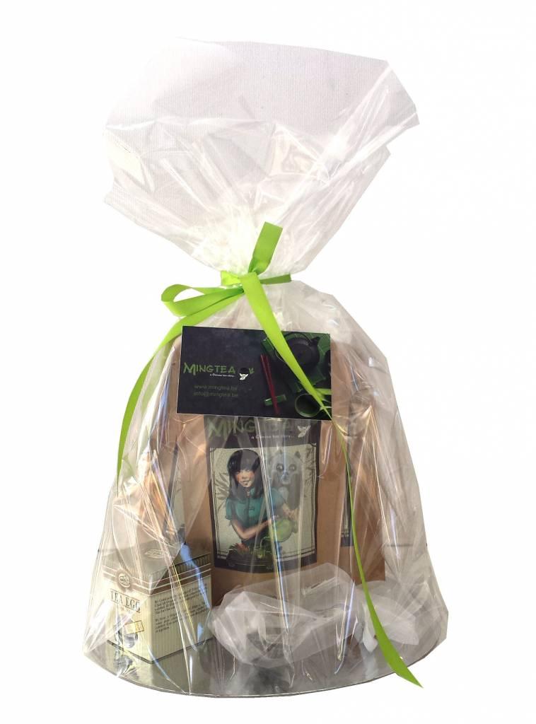 Geschenkset in cellophanfolie: 3 BIO Tees + 2 Teeblumen +Tee-Ei-2