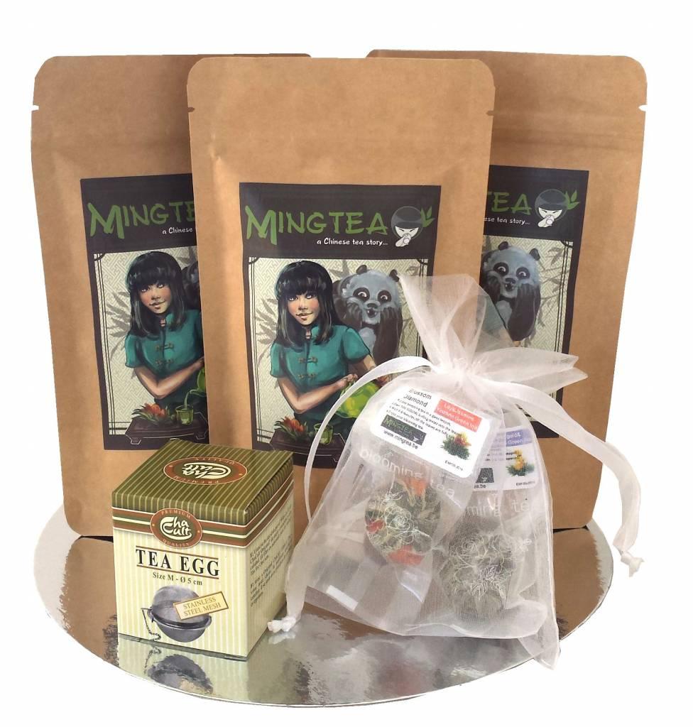 Geschenkset in cellophanfolie: 3 BIO Tees + 2 Teeblumen +Tee-Ei-1