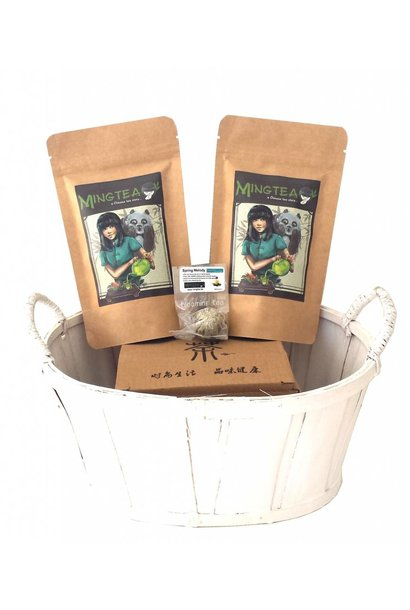 Geschenkset in einem Korb in cellophanfolie: 2 BIO Tees + 1 Teeblumen + Teeglas 400ml