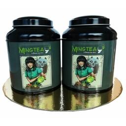 Mingtea Auswahl : Exklusiver grüner und weißer Tee in einer Mingtea Blechdose