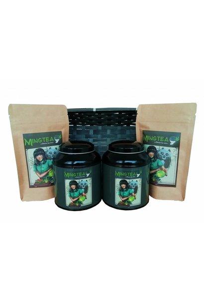 Geschenkset in einem Korb in cellophanfolie: Schlaf gut Tee