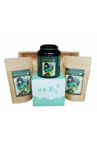Cadeauset mandje in Cellofaanfolie: Japan exclusieve thee
