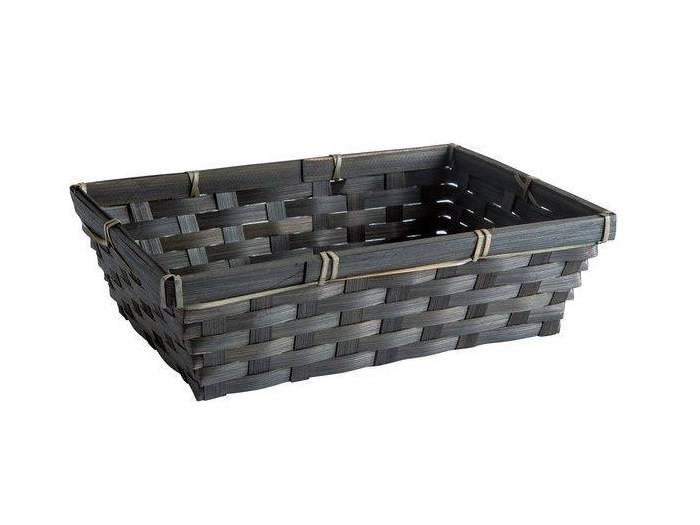 Geschenkverpackung : Schwarzes  rechteckiges Bambuskörbchen mit Kärtchen-1