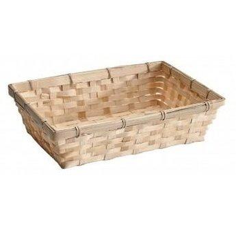 Geschenkverpackung : Rechteckiges Bambuskörbchen mit Karte