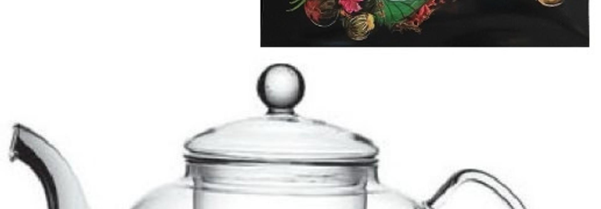 12 Teeblumen + Ching Cha Teekanne für 1 L