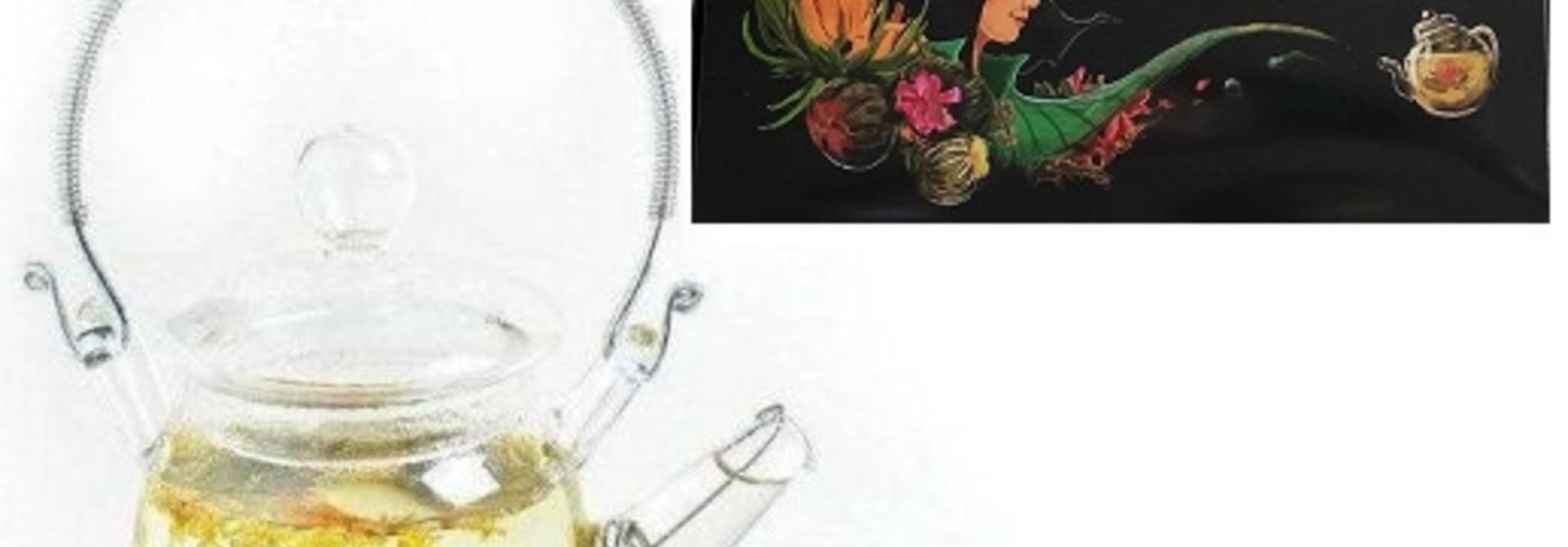 12 Teeblumen + Teekanne aus Glas 350ml