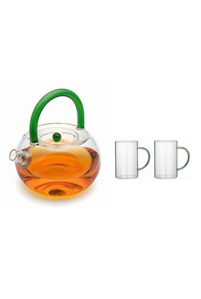 """Théière en verre """"Nature"""" avec passoire 850ml + 2 verres à thé"""