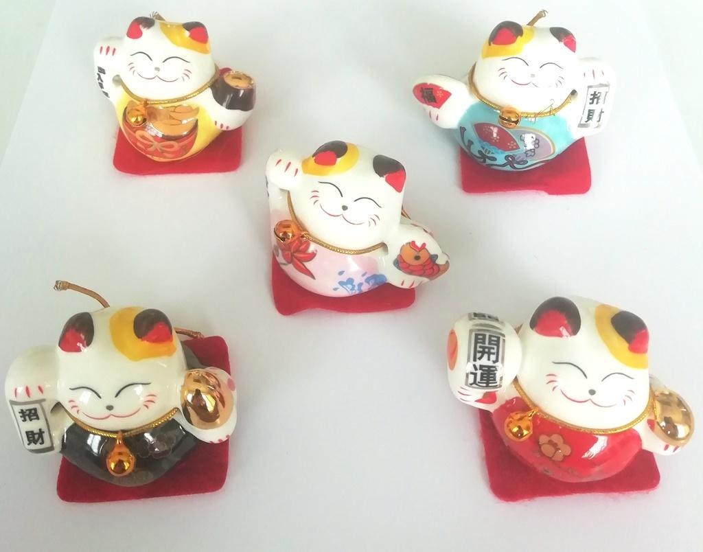 """Ensemble de 5 """"Lucky cat """" chinois-1"""