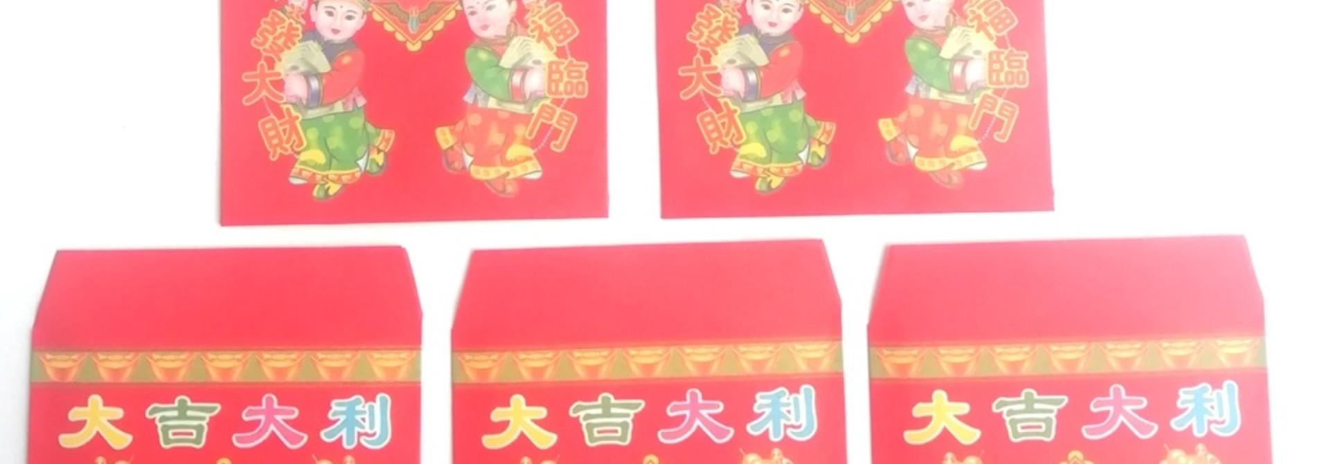 10 Rote Papier-Glückstaschen (Umschläge).