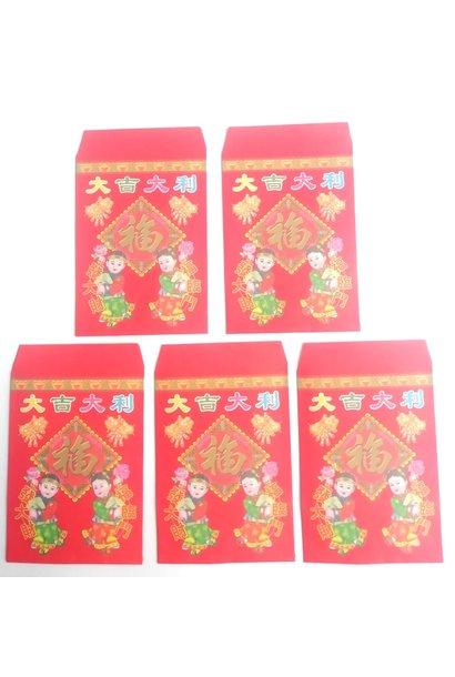 10 Sachets (Enveloppes)  porte-bonheur en papier rouge.
