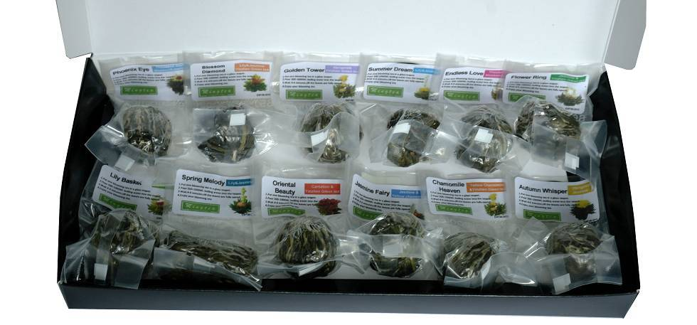 12 Teeblumen + Glas Teekanne mit Metallfilter 950ml-4