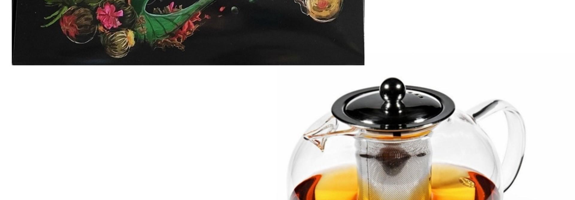 12 Teeblumen + Glas Teekanne mit Metallfilter 950ml
