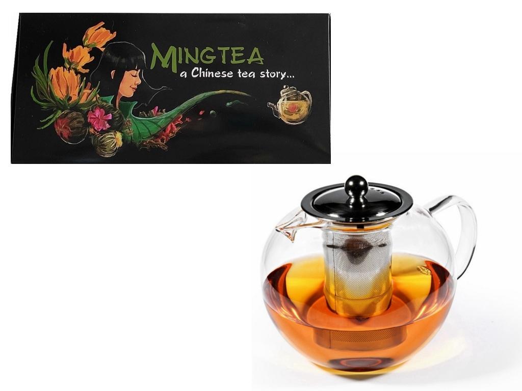 12 Teeblumen + Glas Teekanne mit Metallfilter 950ml-1