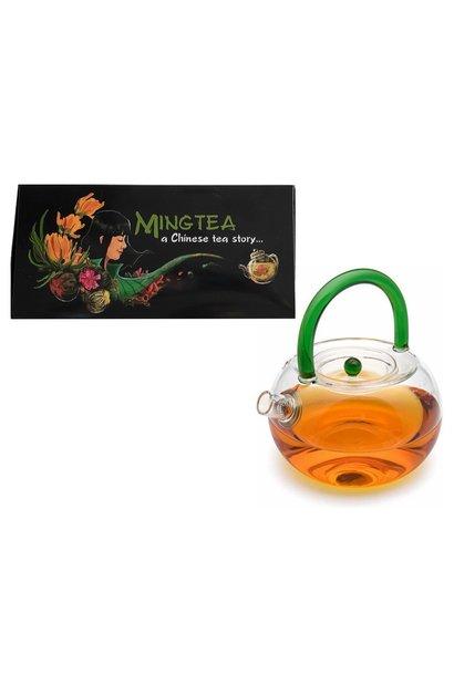 """6 Teeblumen + Glas Teekanne """"Natur"""" mit sieb 850ml"""