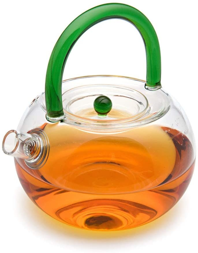 """6 Teeblumen + Glas Teekanne """"Natur"""" mit sieb 850ml-2"""