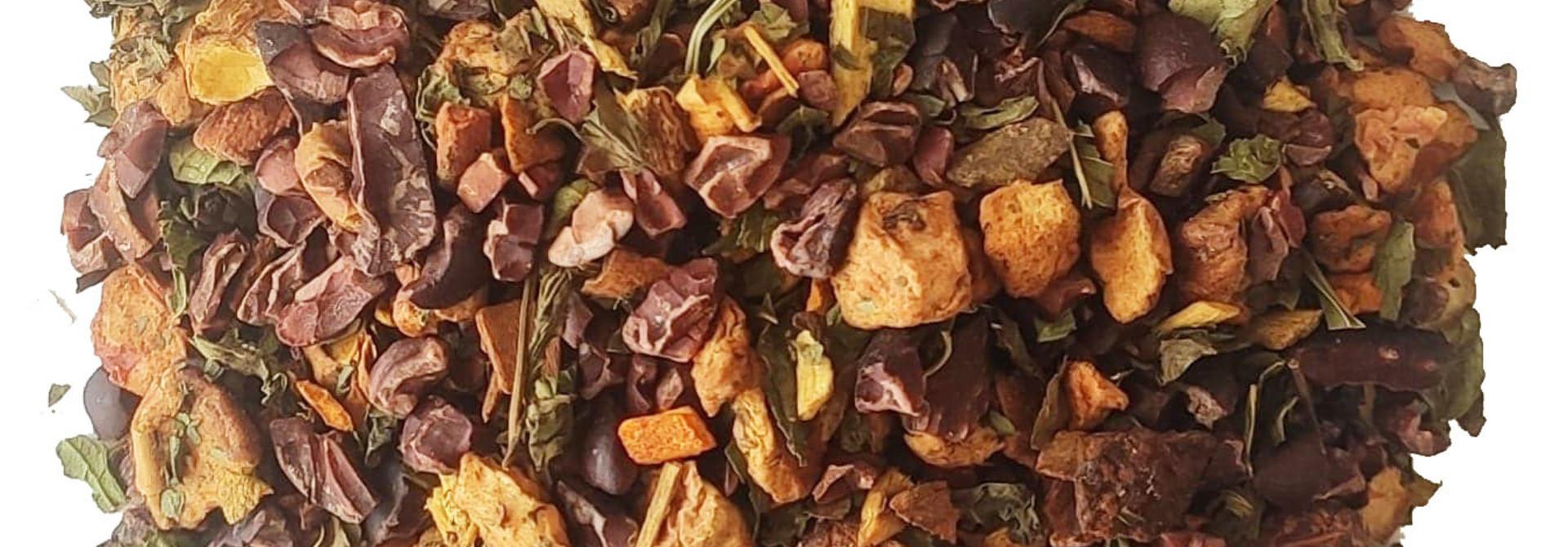 Kräutertee: Kurkuma -Minze - Schokoladenstückchen BIO