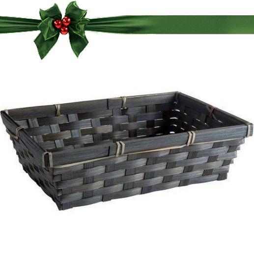 Geschenkverpackung : Schwarzes  rechteckiges Bambuskörbchen mit Kärtchen-2