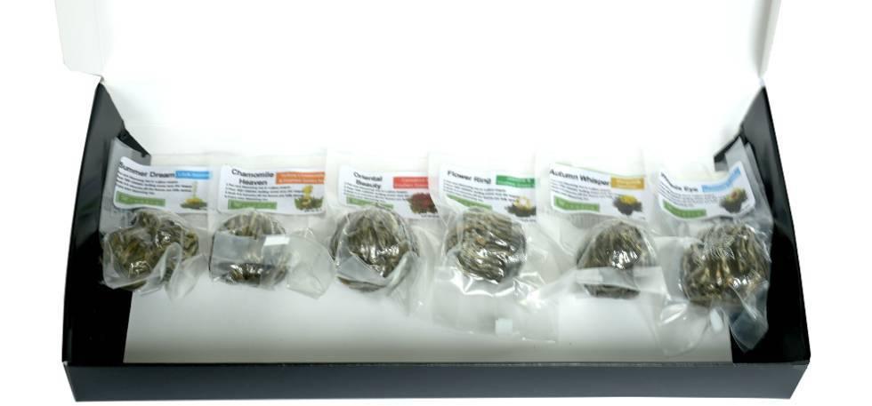 6 Teeblumen + Teekanne aus Glas 350ml-4