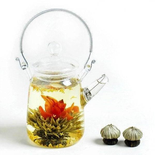 Klein Glazen Theepotje met Zeefje voor Onze Theebloemen van 350ml-1