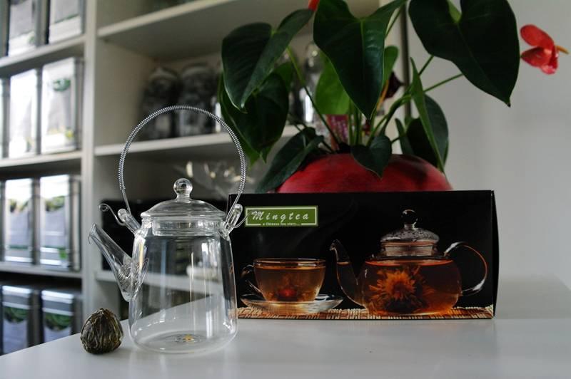 Klein Glazen Theepotje met Zeefje voor Onze Theebloemen van 350ml-2
