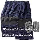 Mascot® (Set1) = 3 x Lerida Werkbroek met Kevlar® kniezakken + gratis kniepads