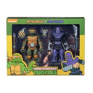 NECA  Teenage Mutant Ninja Turtles Action Figure 2-Pack Michelangelo vs Foot Soldier 18 cm
